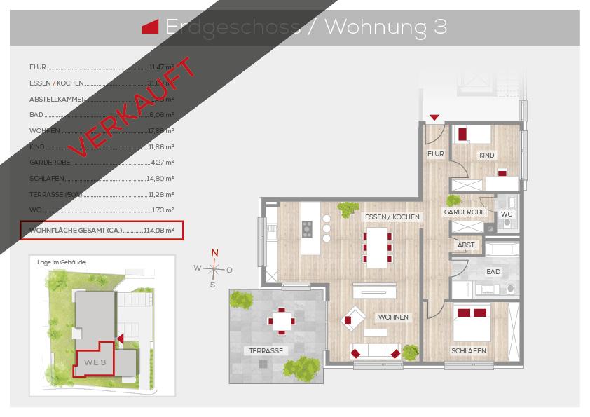 Grundriss Wohnung 3, EG | Frankenresidenz Ottensoos | Frankenresidenz