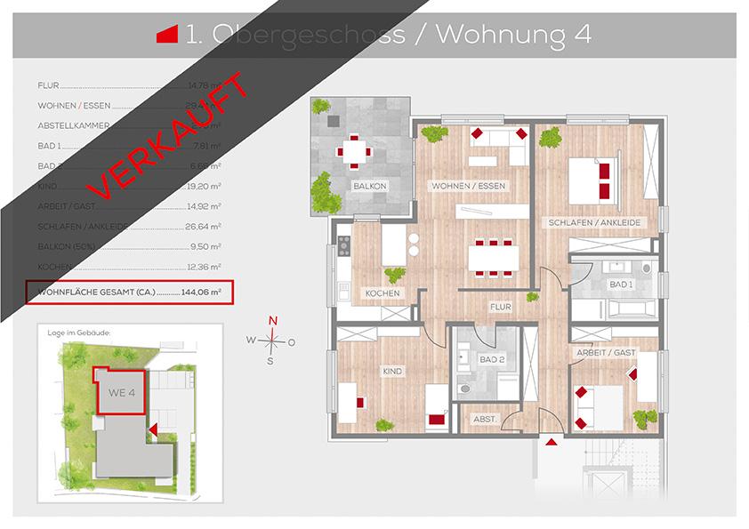 Grundriss Wohnung 4, 1. OG | Frankenresidenz Ottensoos | Frankenresidenz