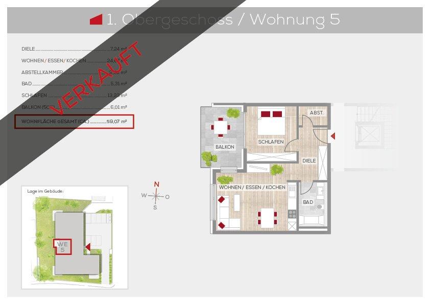 Grundriss Wohnung 5, 1. OG | Frankenresidenz Ottensoos | Frankenresidenz