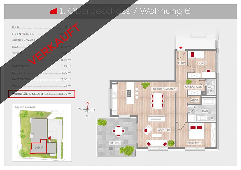 Grundriss Wohnung 6, 1. OG | Frankenresidenz Ottensoos | Frankenresidenz
