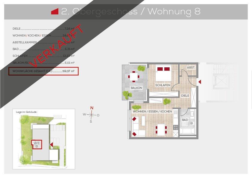 Grundriss Wohnung 8, 2. OG | Frankenresidenz Ottensoos | Frankenresidenz