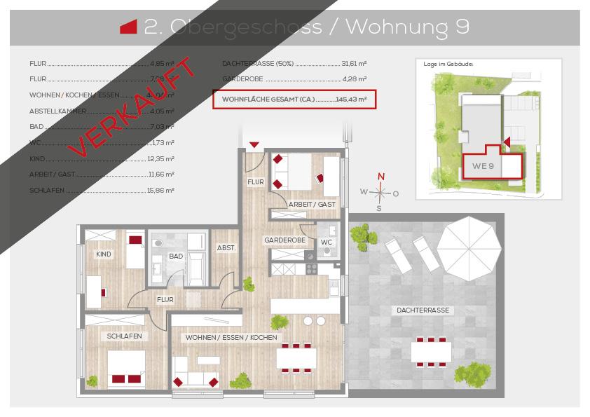 Grundriss Wohnung 9, 2. OG | Frankenresidenz Ottensoos | Frankenresidenz