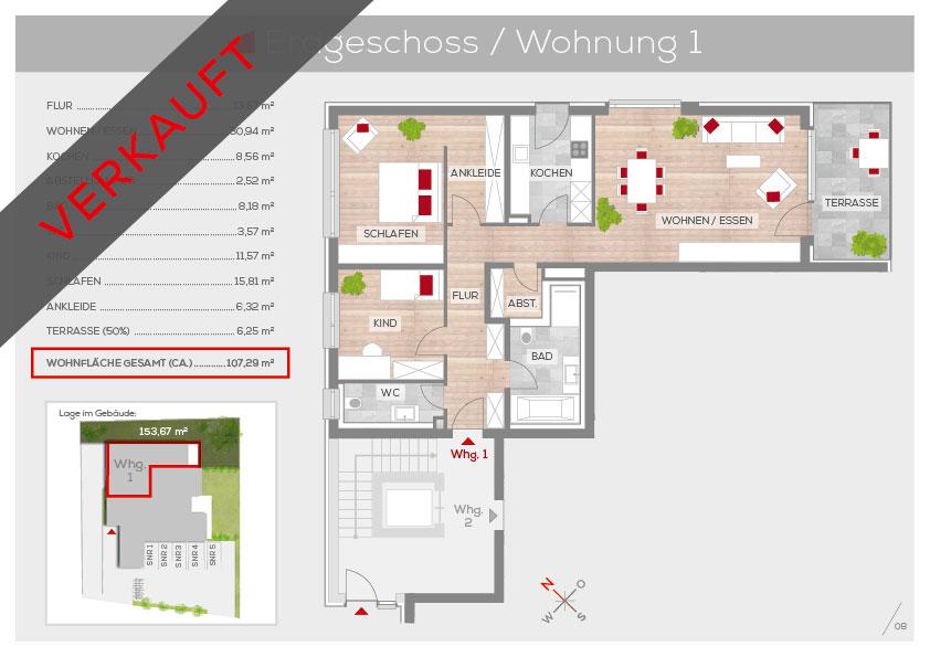 Grundriss Wohnung 1, EG | Frankenresidenz Kotzenhof | Frankenresidenz
