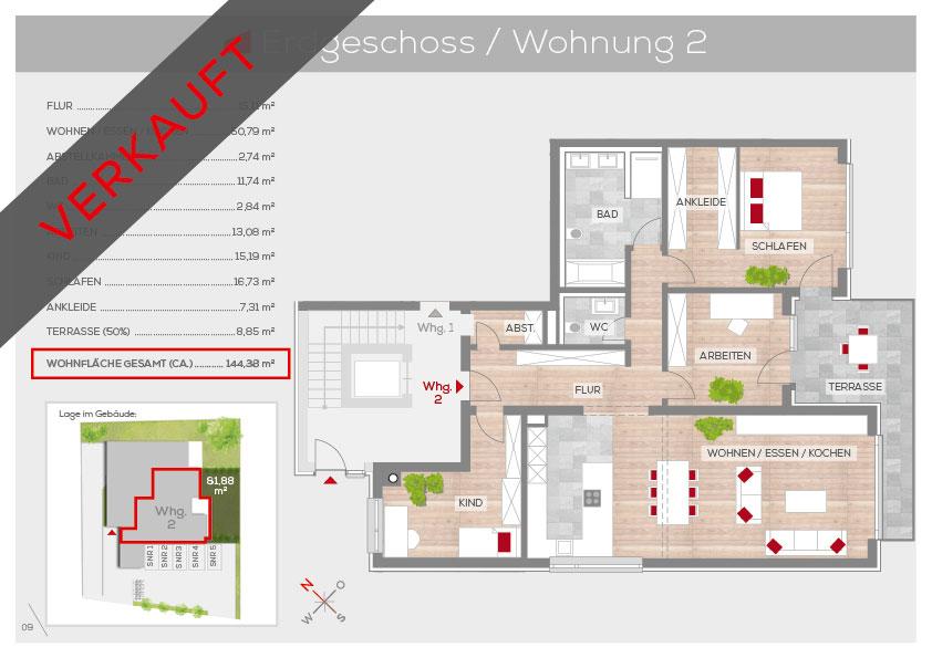 Grundriss Wohnung 2, EG | Frankenresidenz Kotzenhof | Frankenresidenz