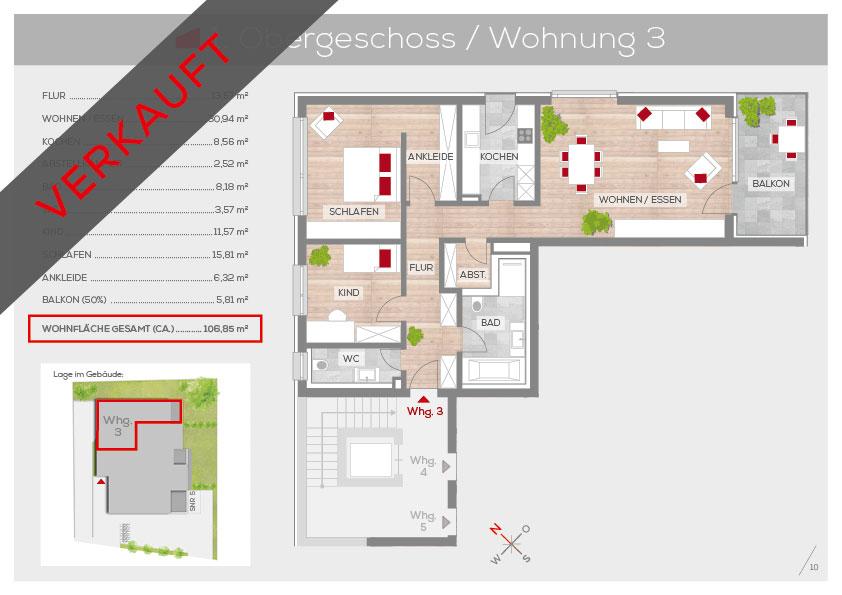 Grundriss Wohnung 3, 1. OG | Frankenresidenz Kotzenhof | Frankenresidenz