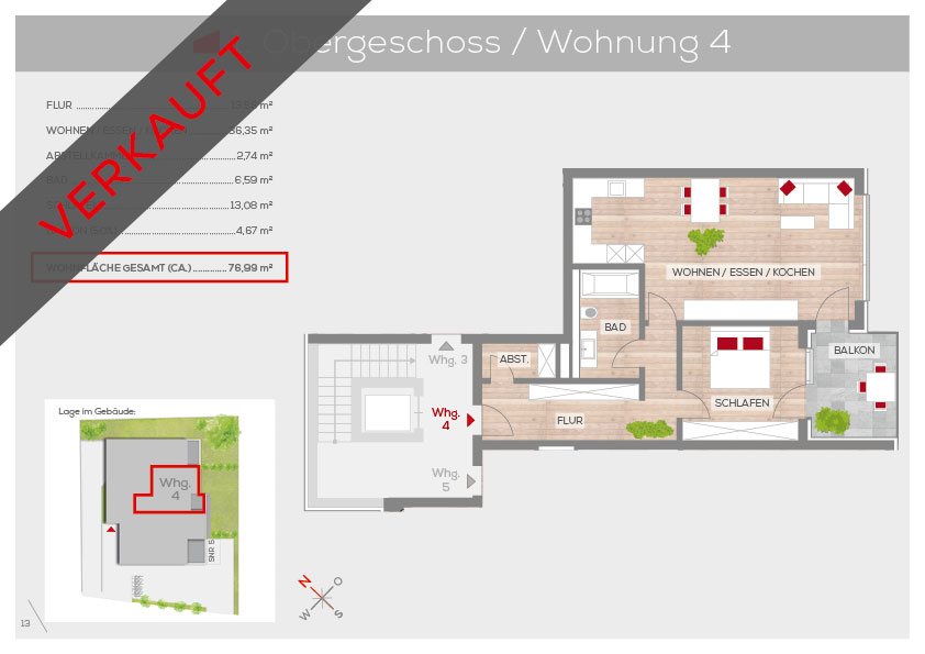 Grundriss Wohnung 4, 1. OG | Frankenresidenz Kotzenhof | Frankenresidenz