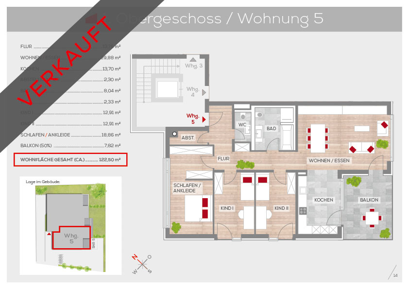 Grundriss Wohnung 5, 1. OG | Frankenresidenz Kotzenhof | Frankenresidenz