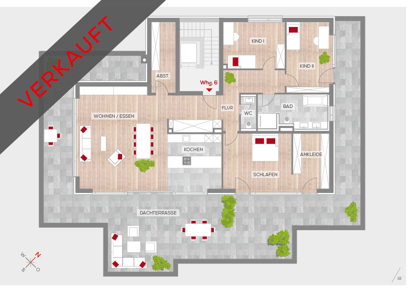 Grundriss Penthouse-Wohnung, 2. OG | Frankenresidenz Kotzenhof | Frankenresidenz
