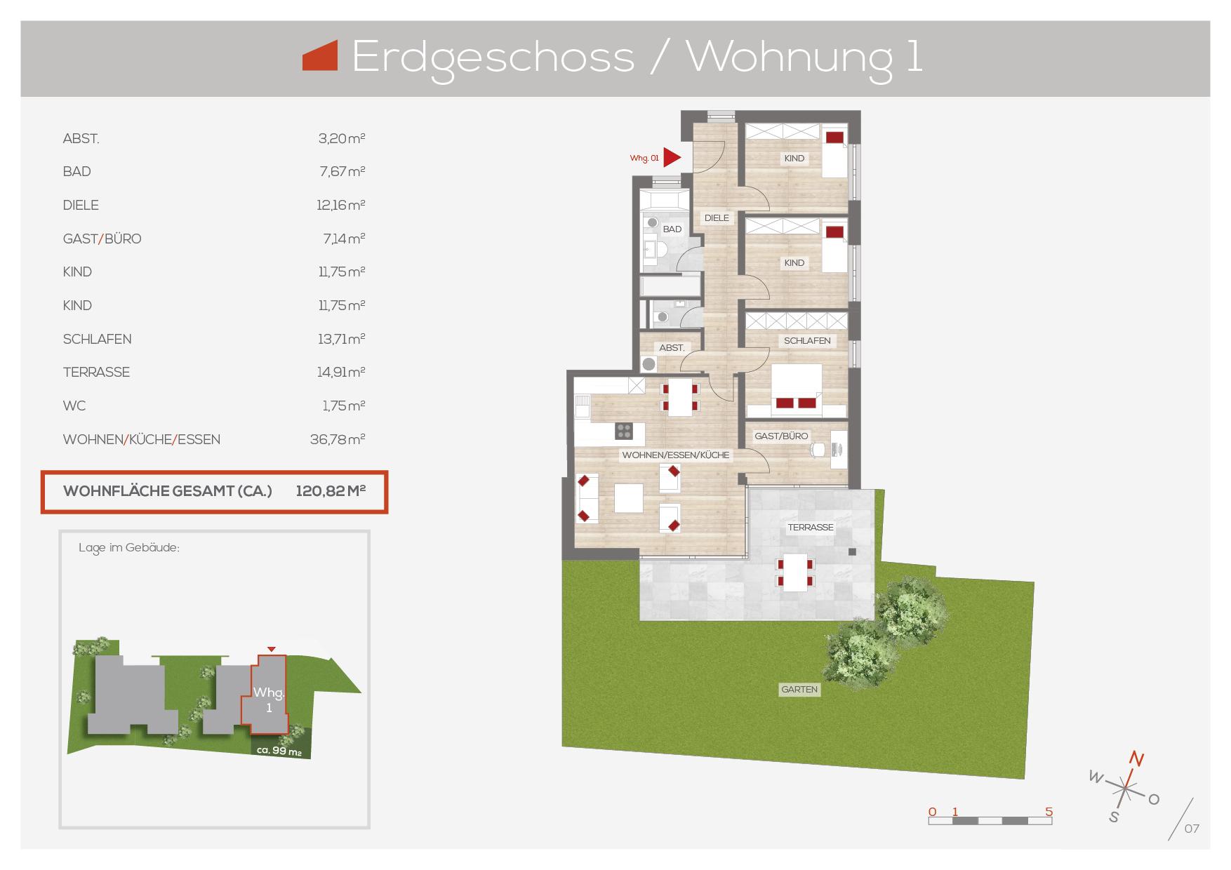 Grundriss Wohnung 1, EG | Frankenresidenz Entensee | Frankenresidenz