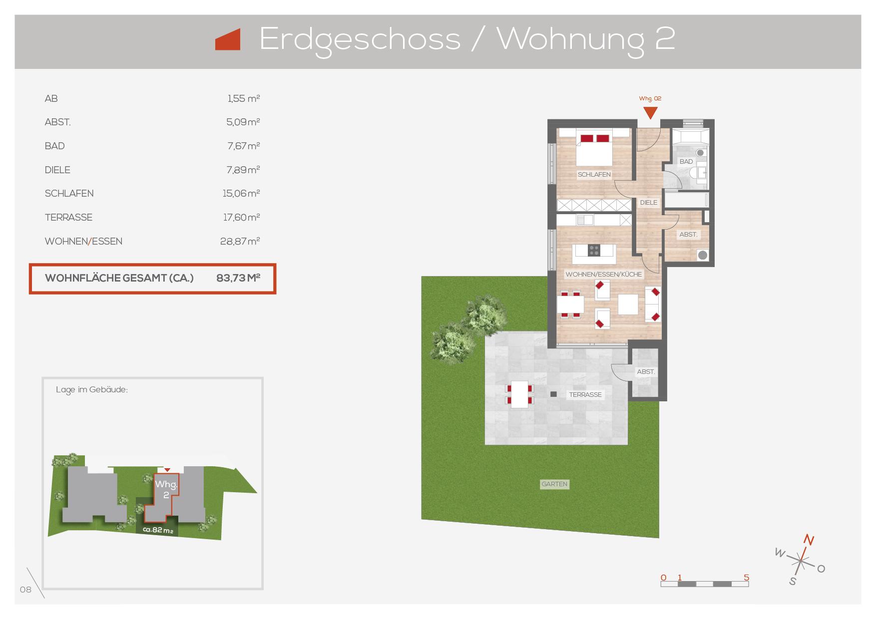 Grundriss Wohnung 2, EG | Frankenresidenz Entensee | Frankenresidenz